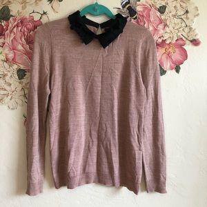 Ivanka Trump Floral Velvet Collar Sweater size Med